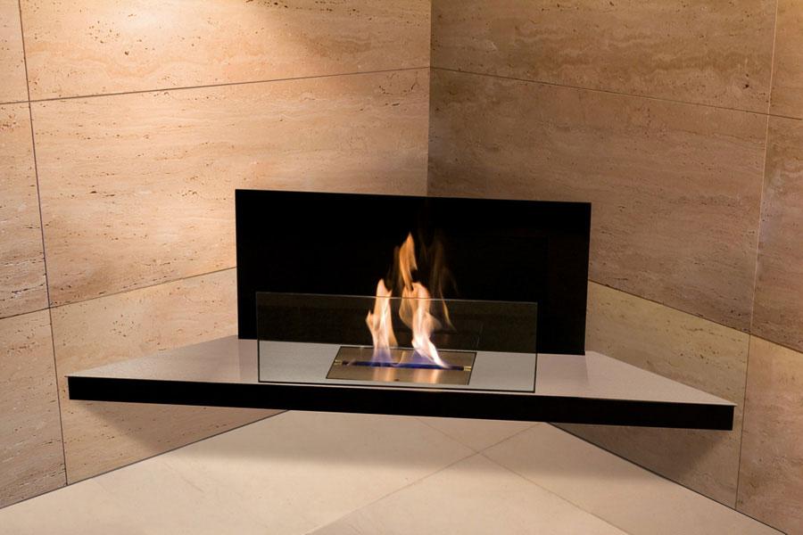 Bio Ethanol Kamin Corner Flame, Edelstahl, Glas Schwarz