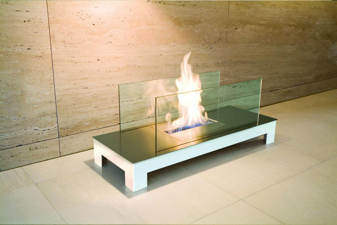 ... Edelstahl Bio Ethanol Kamin Floor Flame In Weiß, ...