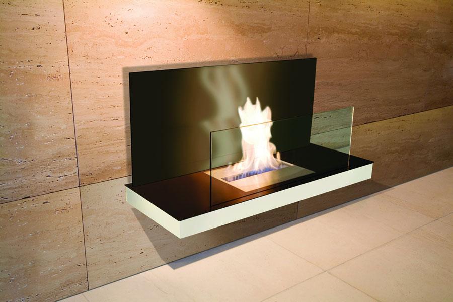 ... Transparentes Glas Ethanol Kamin Wall Flame 2, Edelstahl Matt, Farbe  Weiß, Schwarzes Glas ...