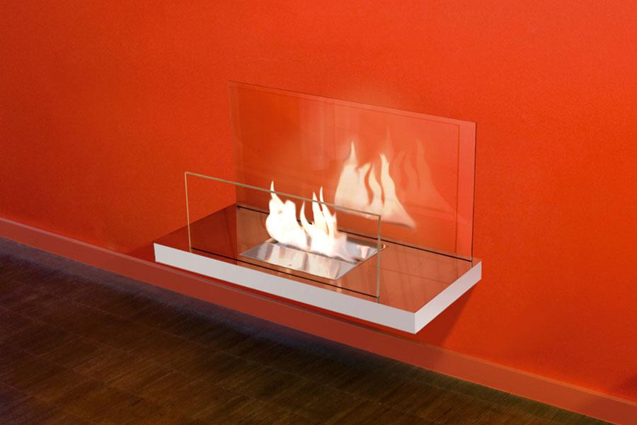 Captivating ... Schwarzes Glas Ethanol Kamin Wall Flame 2, Edelstahl Hochglanzpoliert,  Farbe Weiß, Transparentes Glas ...
